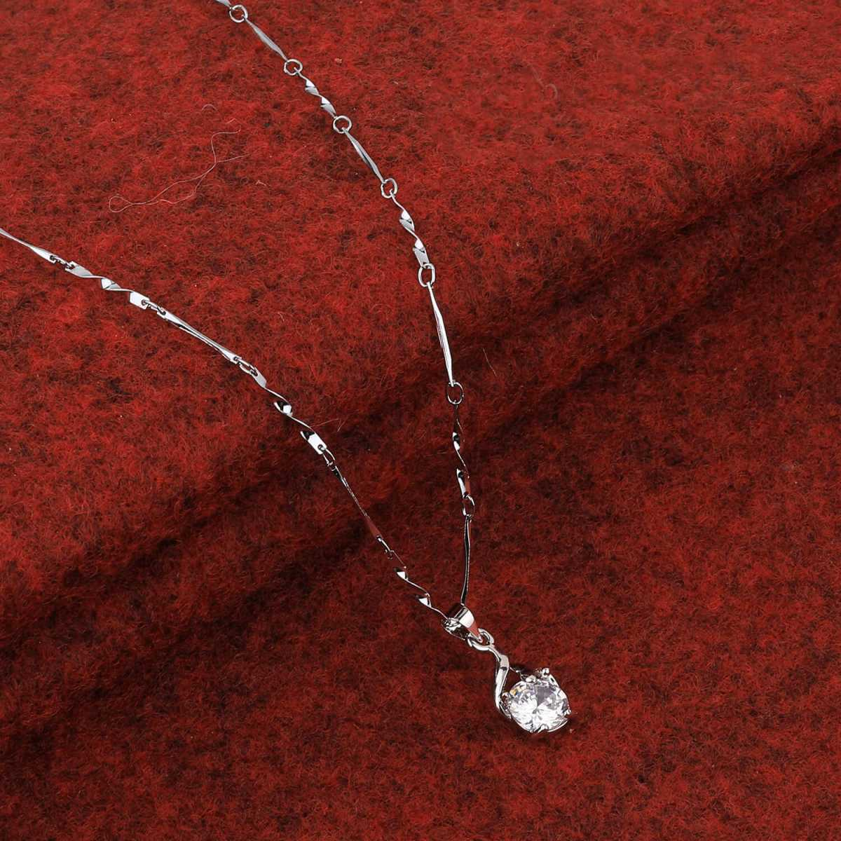 SILVER SHINE  Silver Plated Party Wear Chain With Charm Solitaire Diamond Pendant For Women