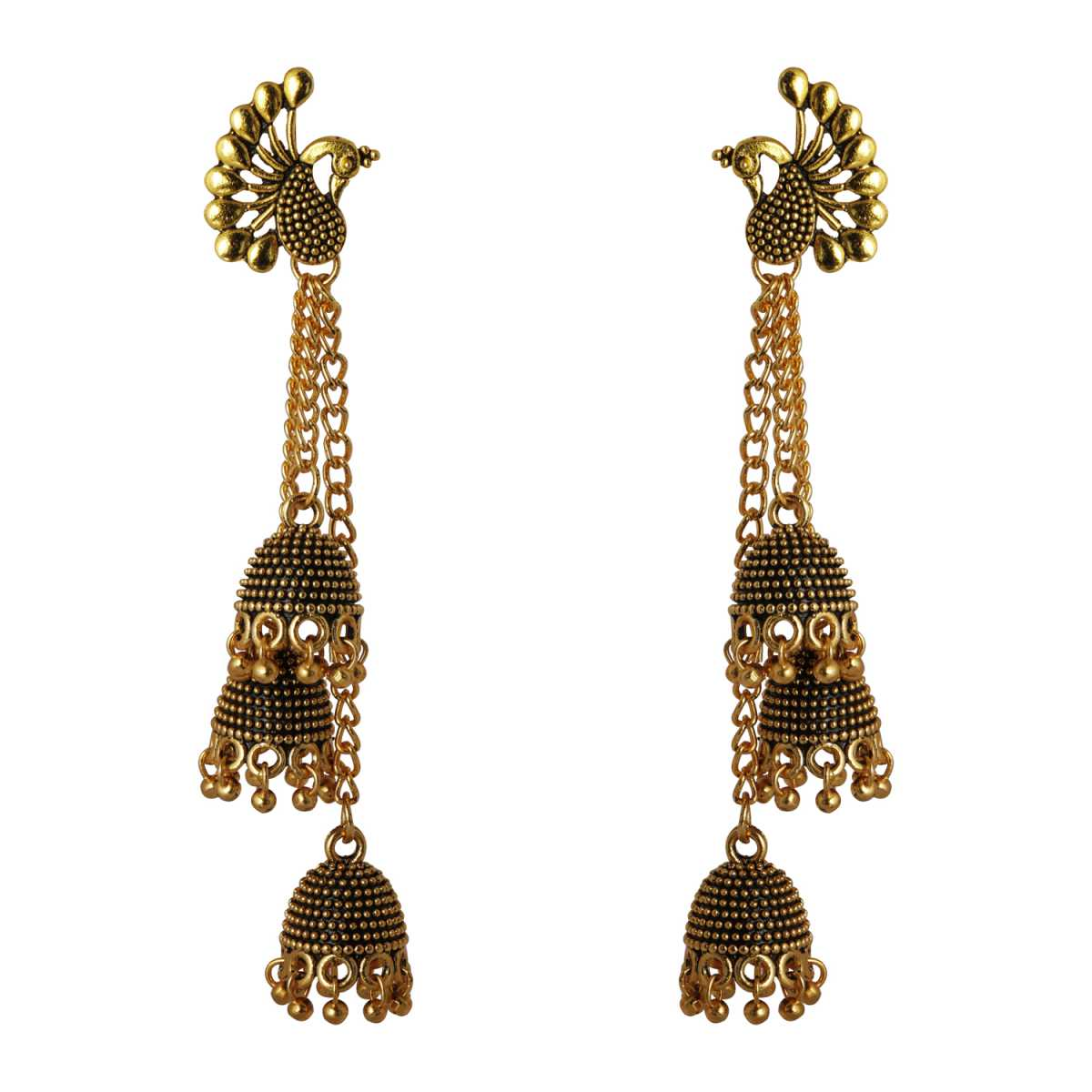 Silver Shine Charming Peacock 3 Layered Tassel Jhumki Earrings for Women