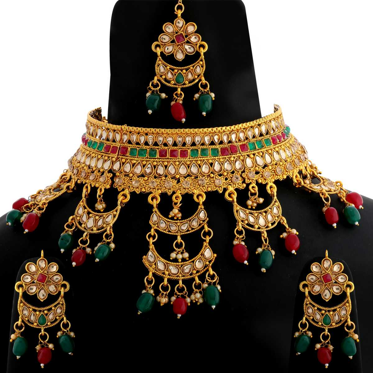 Silver Shine Gold Plated Choker  Traditional Royal Queen Green And Red Stone Studded Multi Colour Bead Drop Designer Wedding Necklace jewellery set for Girls And Women