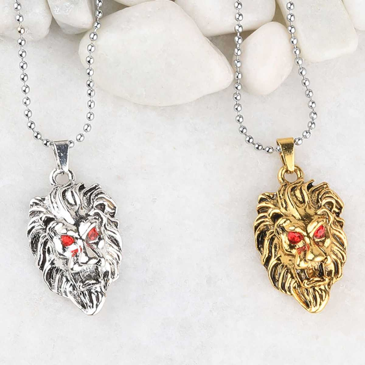 SILVERSHINE Silver Plated Stylist Chain With Lion Design Combo Chain pendant For Man Boys-2piece