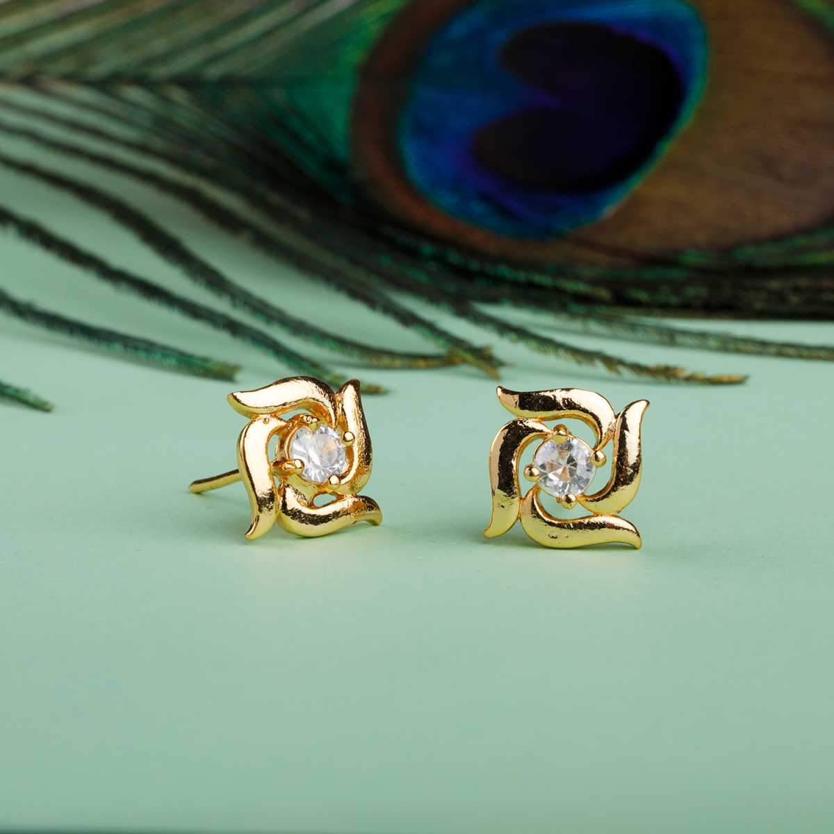 Silver Shine Attractive Gold Superb Polished Stud Earring With Diamond For Girl And Women