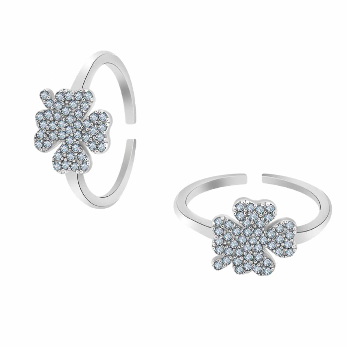 Classic Flower Silver Toe Ring