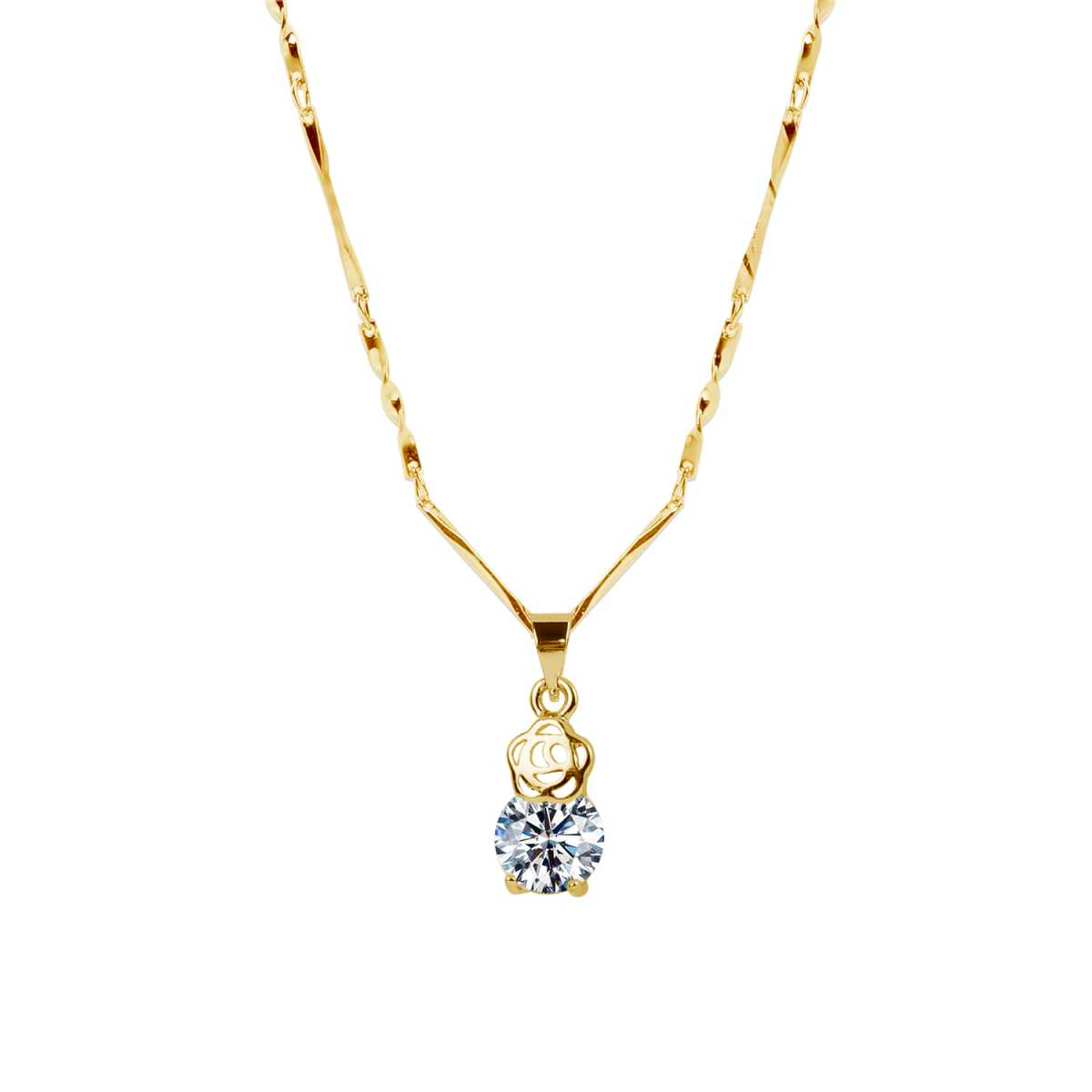 Gold  Plated Chain With Small Flower Shape Solitaire Diamond Pendant For Women