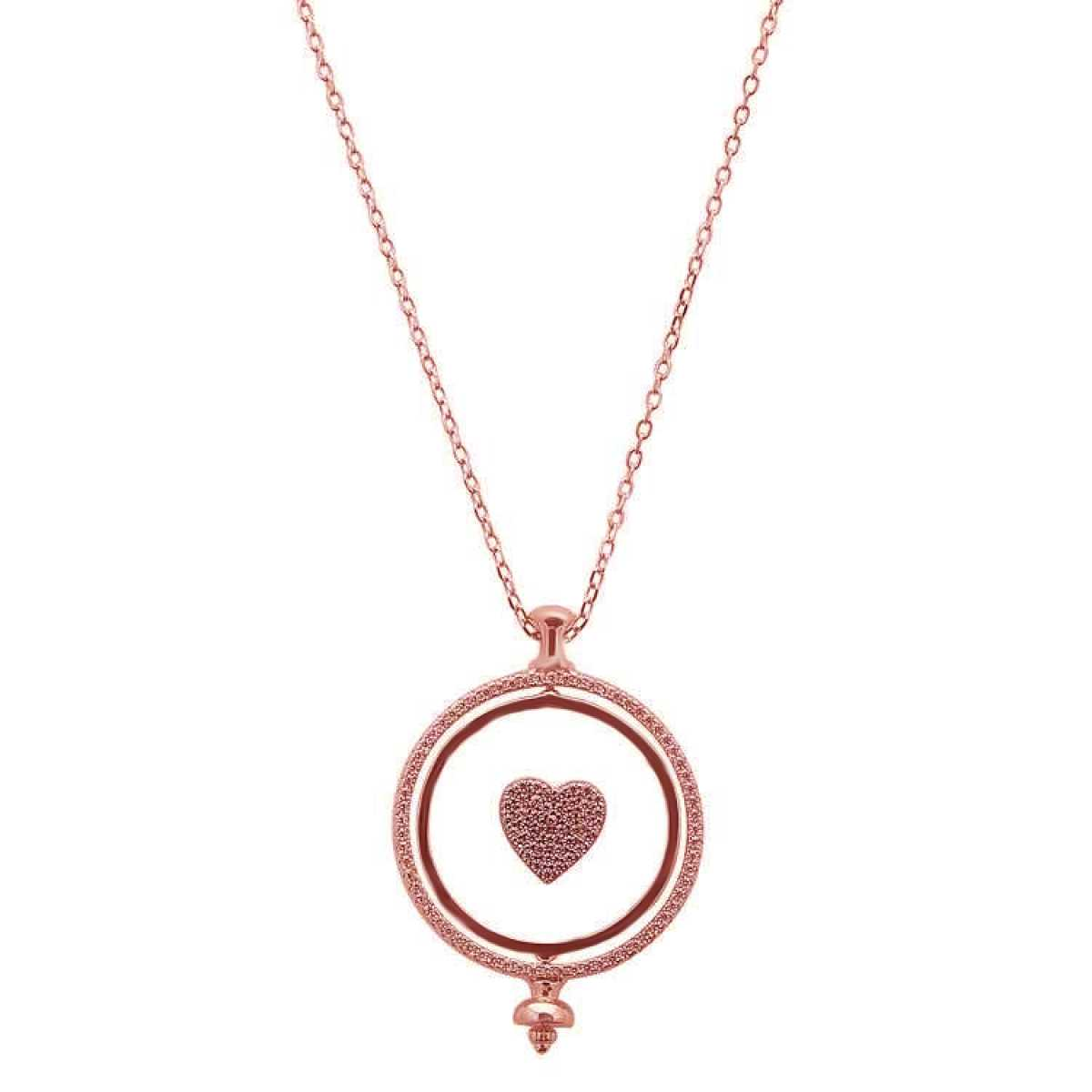 New Round Heart Pendant Rose Gold  Chain