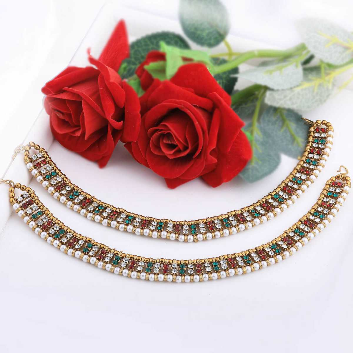 SILVER SHINE Gold plated Traditional Multi Color Anklet for Women And Girl