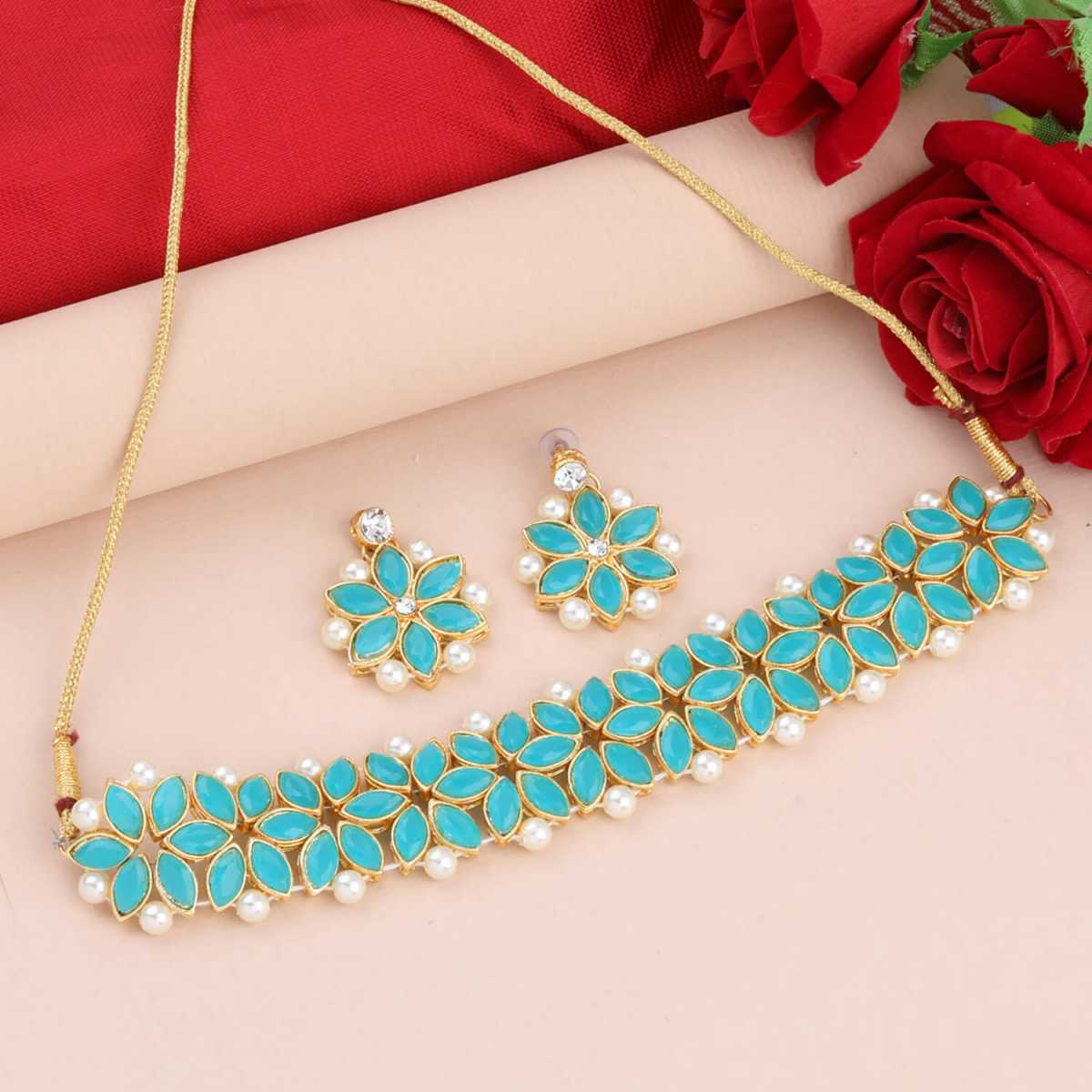 SILVER SHINE Gold Plated Exclusive Stone Choker Set For Girls And Women