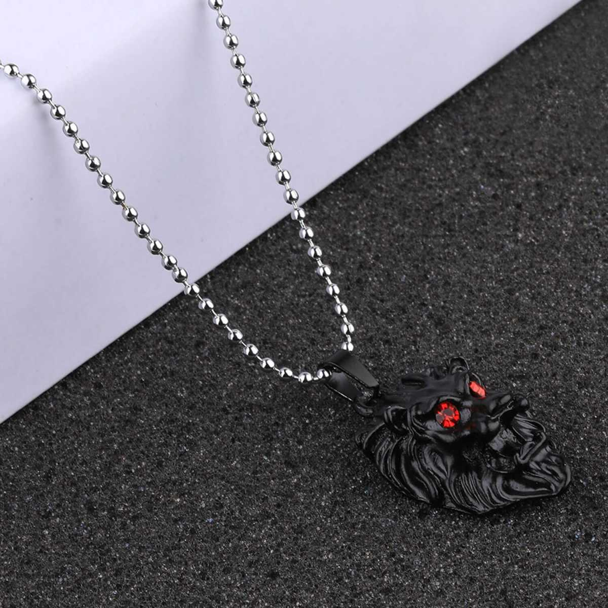 SILVERSHINE Silver Plated Stylist Chain With Lion Design Black pendant With Diamond For Man Boys