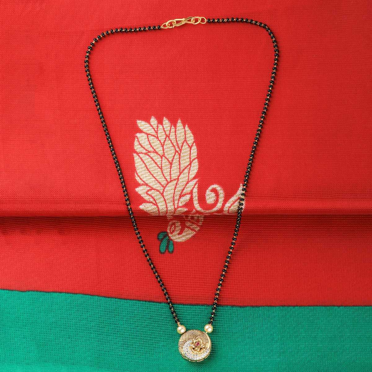 SILVER SHINE Gold Plated Daliy Wear Round Shape Pandent Mangalsutra For Women
