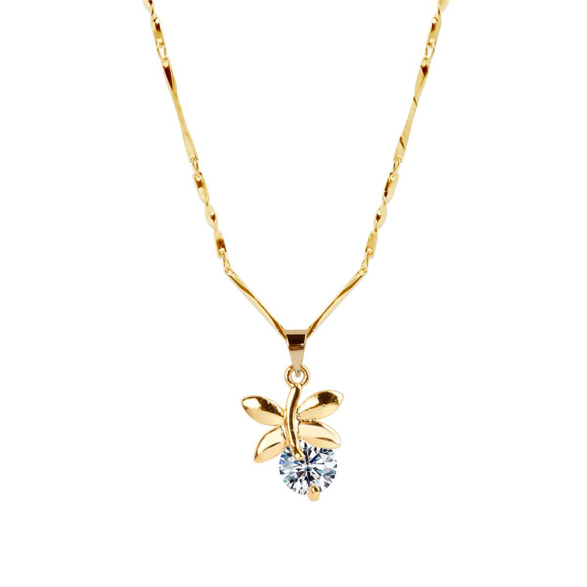 Gold Plated chain With Leaf Shape Solitaire Diamond Pendant For Women