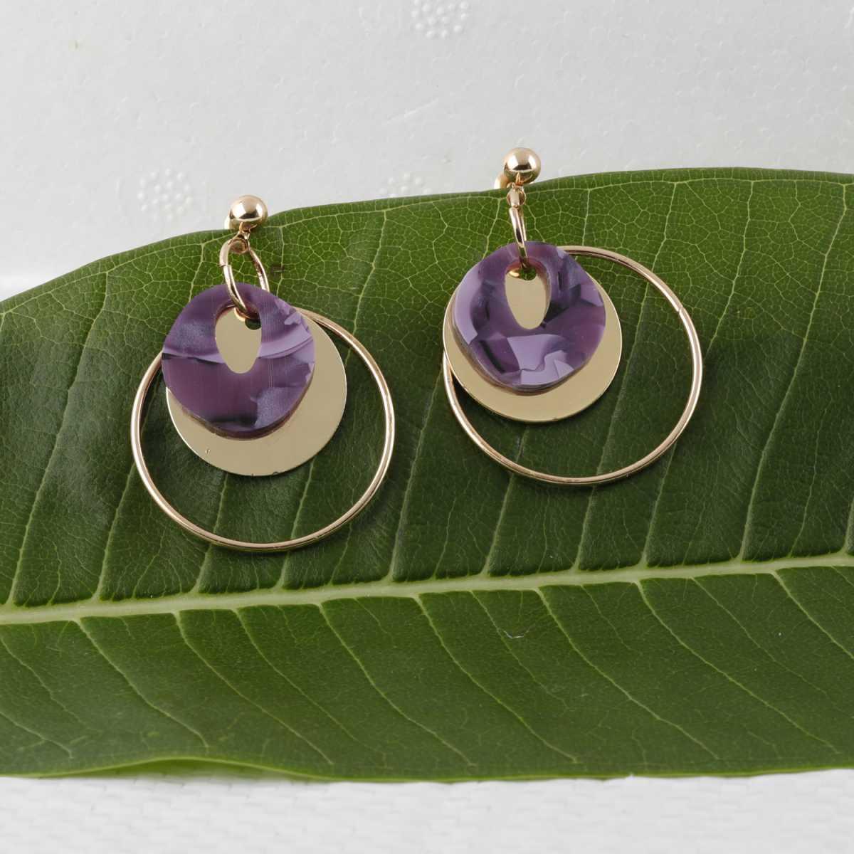 silver shine Dazzling Round Purple Stone