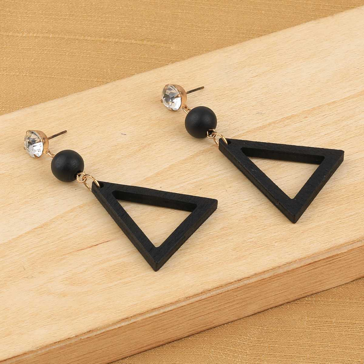 SILVER SHINE Elegant Dangler Black Wooden Fashion Earrings For Girls and Women