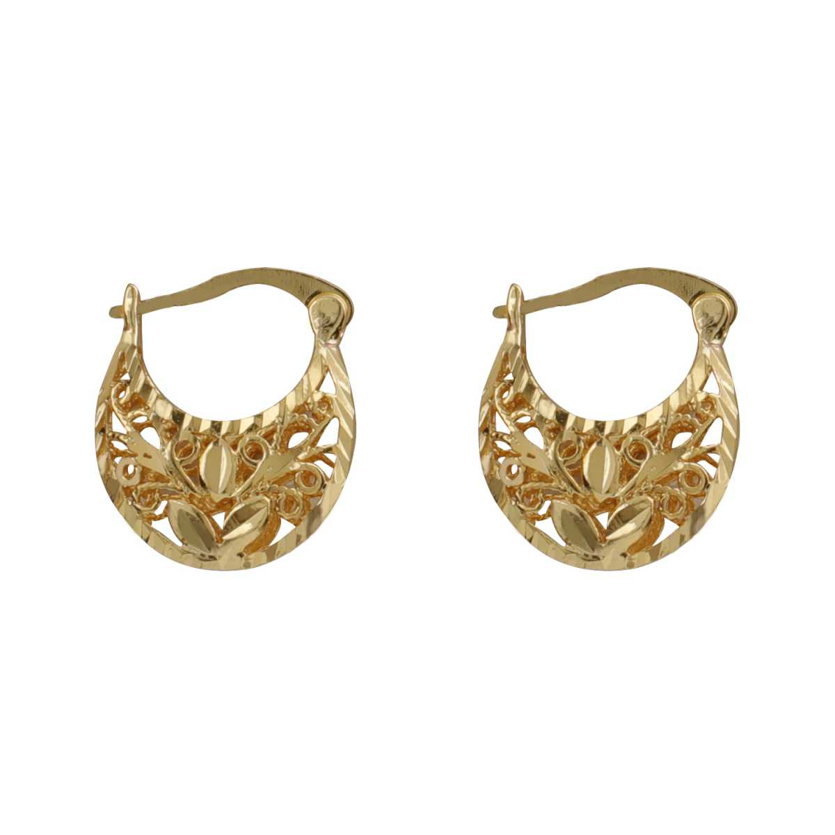 Silver Shine Lovely Gold Well Polished Hollow Design Hoop Bali Earring For Girls And Women