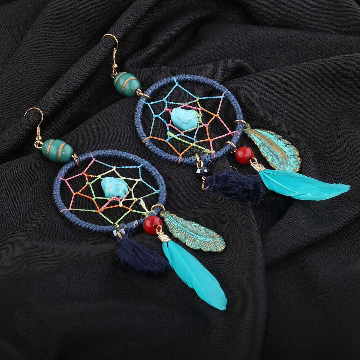 Silver Shine Feather Design Skyblue Colour Party Wear Earring For Girls and Women Jewellery