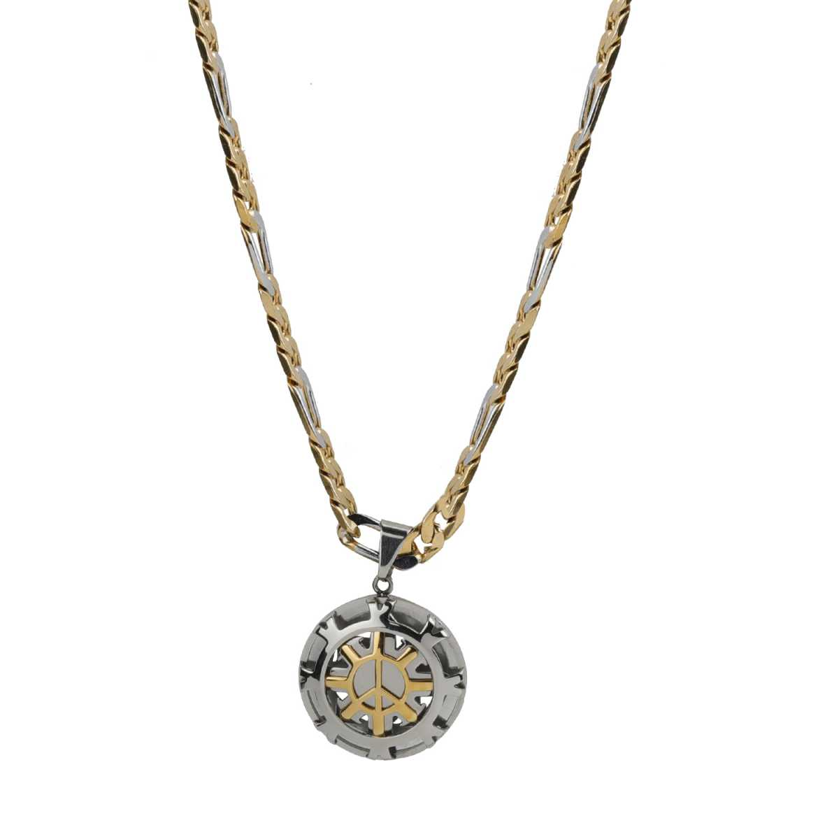 Silver Shine Beautiful Gold Plated Stainless Steel Traditional Icon Pendent Chain Neckless Jewellry 20 Inch For Men And Boys