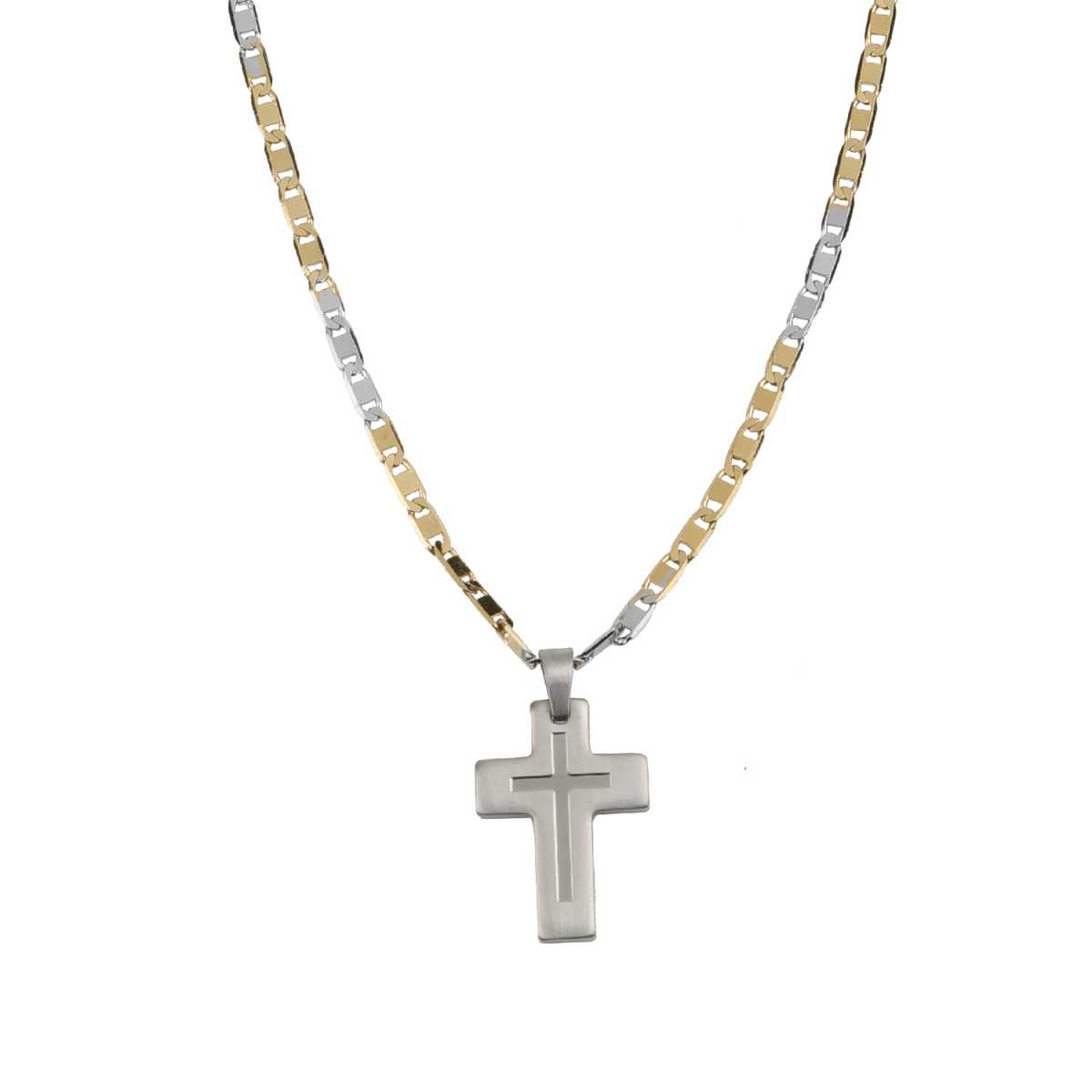 Silver Shine Attractive Silver  Plated Cross Pendent Chain Of 24 Inch Neckless For Gents/Men/Boys