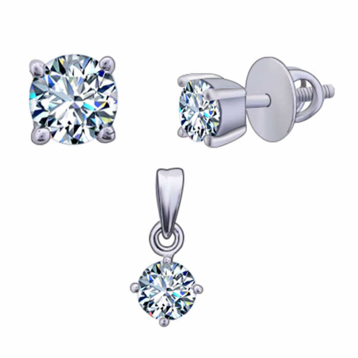 Single Diamond Pendant Set