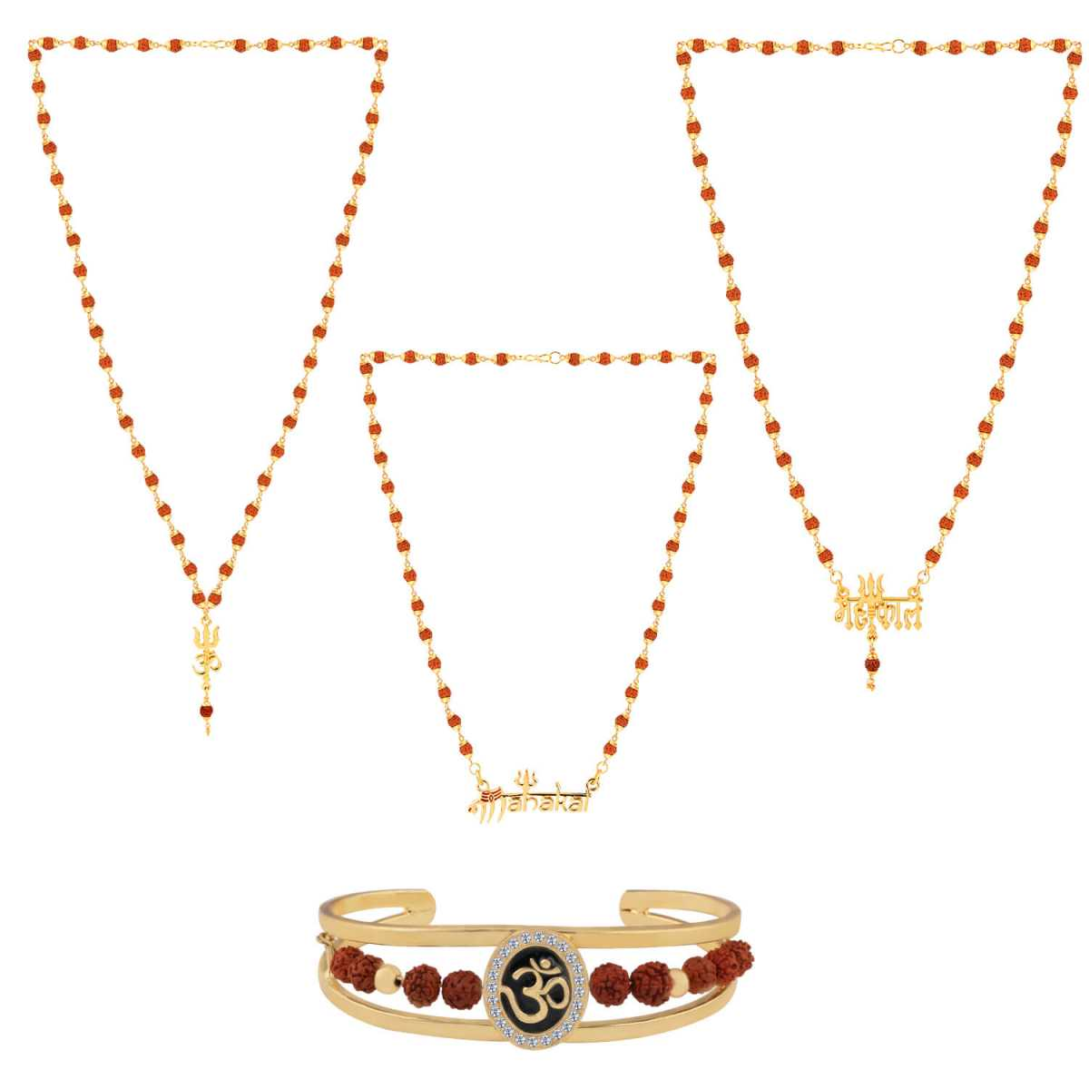 SILVER SHINE Gold Plated Traditional Combo Rudraksh Mala Pendant for Men and Women-set 4