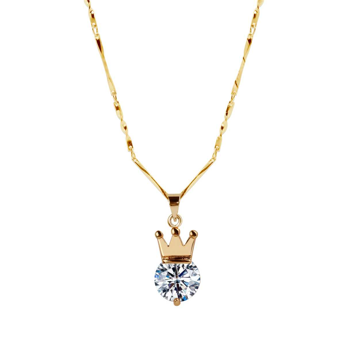 Gold Plated chain With Crown Shape Solitaire Diamond Pendant For Women