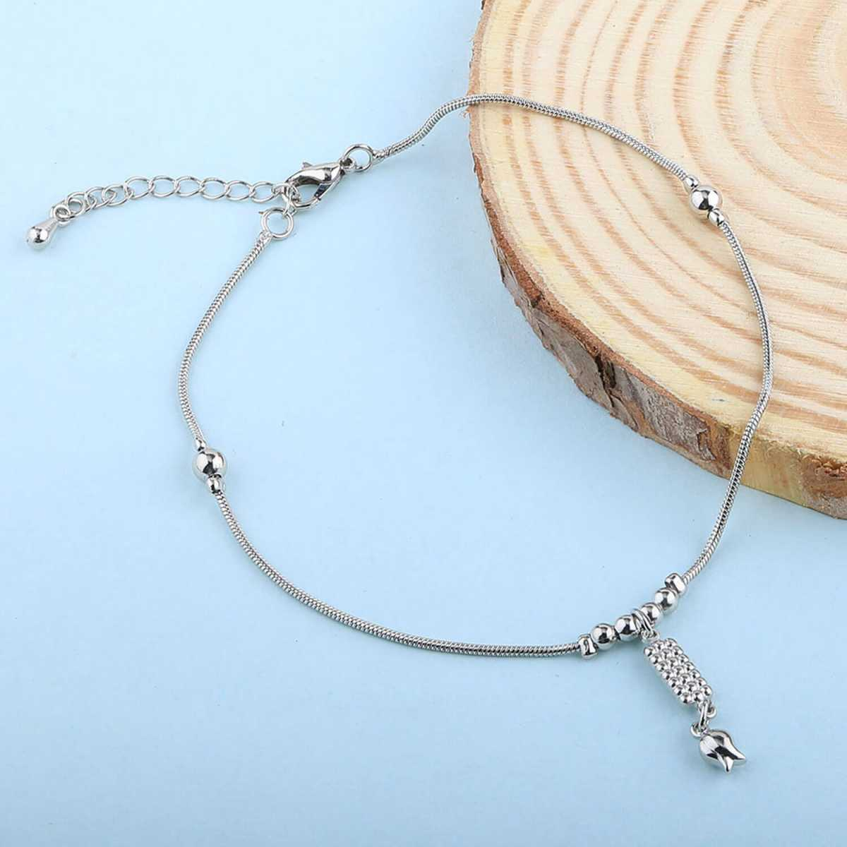 SILVER SHINE Antique Silver Plated single anklet For Girl Women