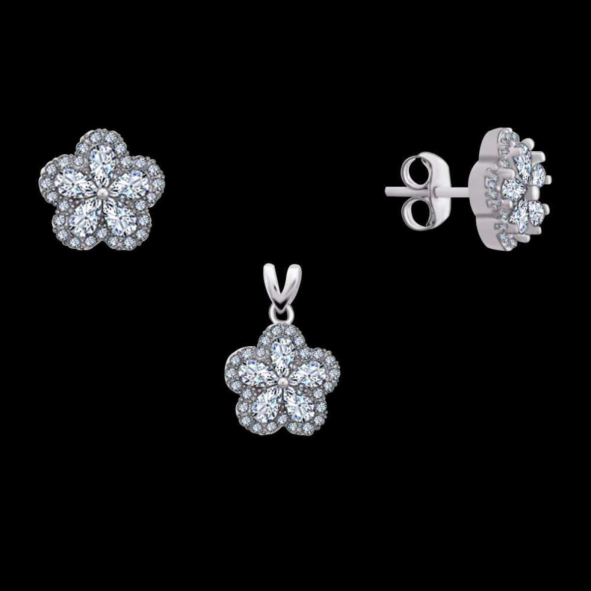Flower Diamond Silver Pendant Set
