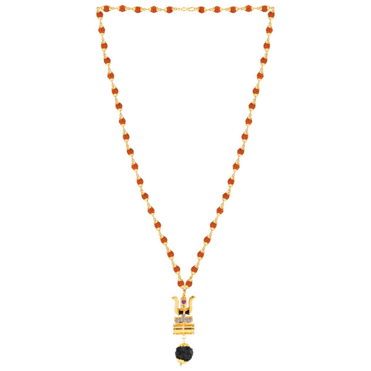 SILVER SHINE Gold Plated Load Shiva Trishul Locket with Rudraksha Mala for Men and Women