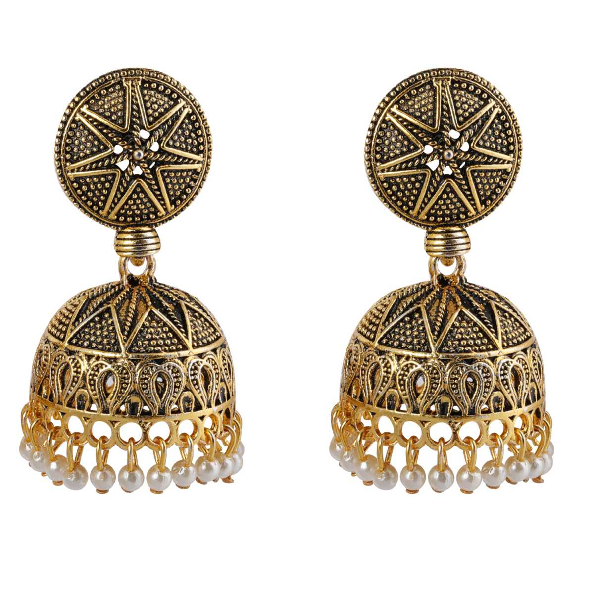 Silver Shine Spunky Golden Pave Pearl Jhumki Earrings