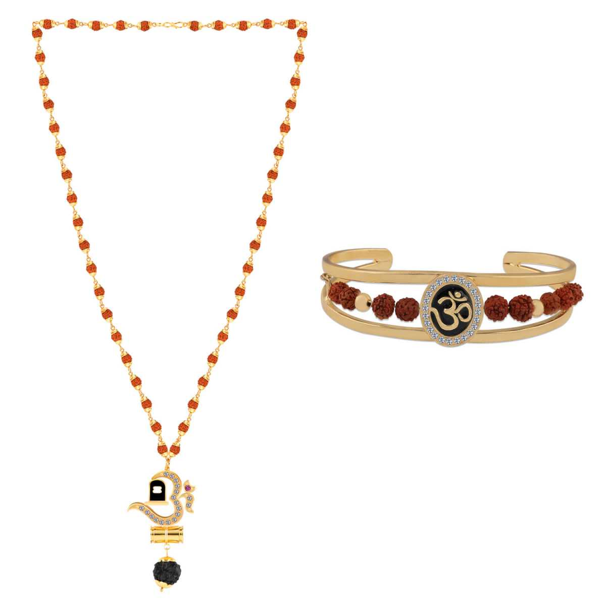 SILVER SHINE Gold Plated Traditional Combo Rudraksh Mala Pendant for Men and Women-set 2