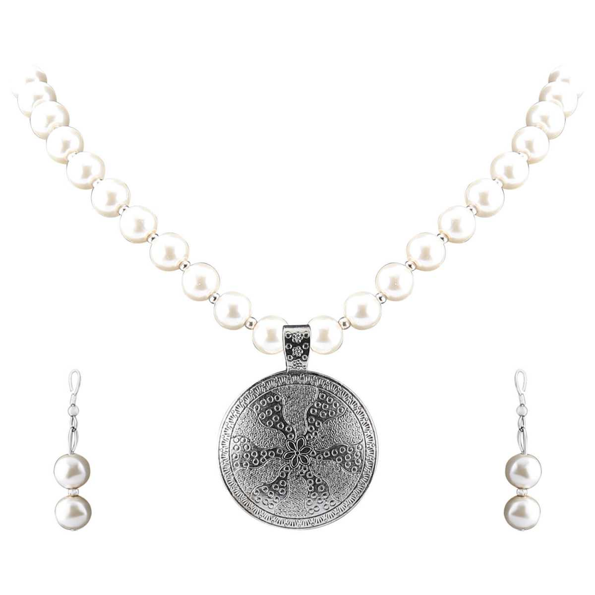 Elegant Designer Oxidised Pendant White Pearl Jewellery set for Women