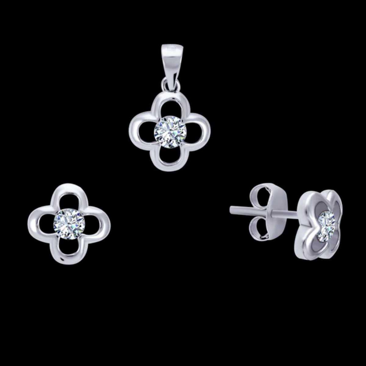 Sweet Flower Sterling Silver Pendant Set