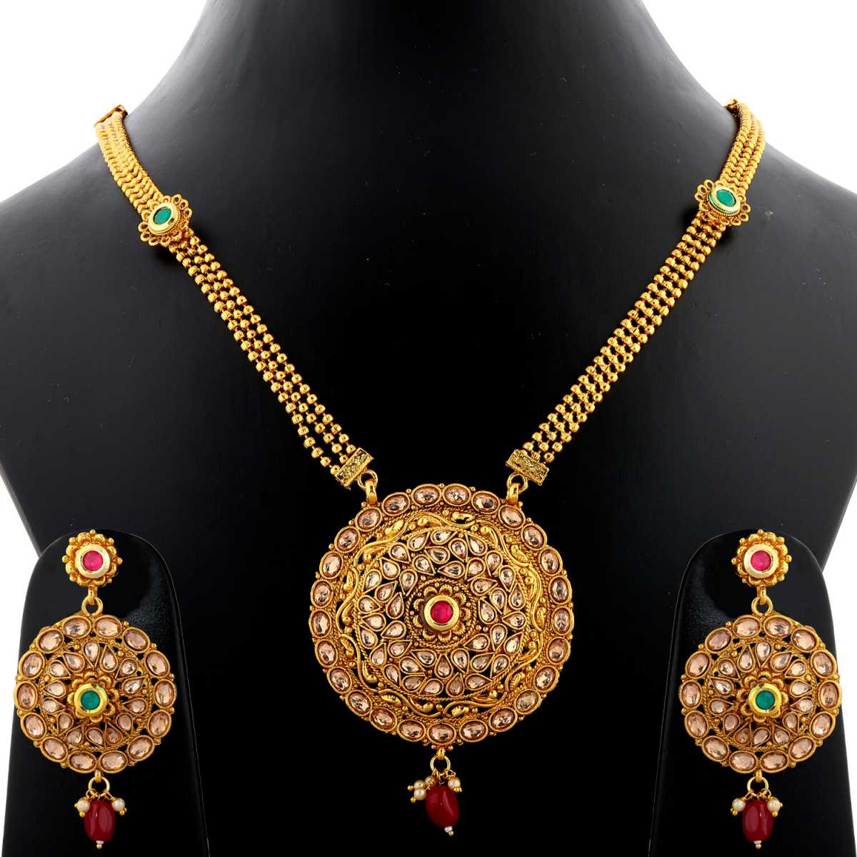 Silver Shine Exclusive Traditional Gold Plated Three Line Chain With  Round Shape All Over Stone Studded Kundan Necklace Set  Jewellery  For Women  And Girls
