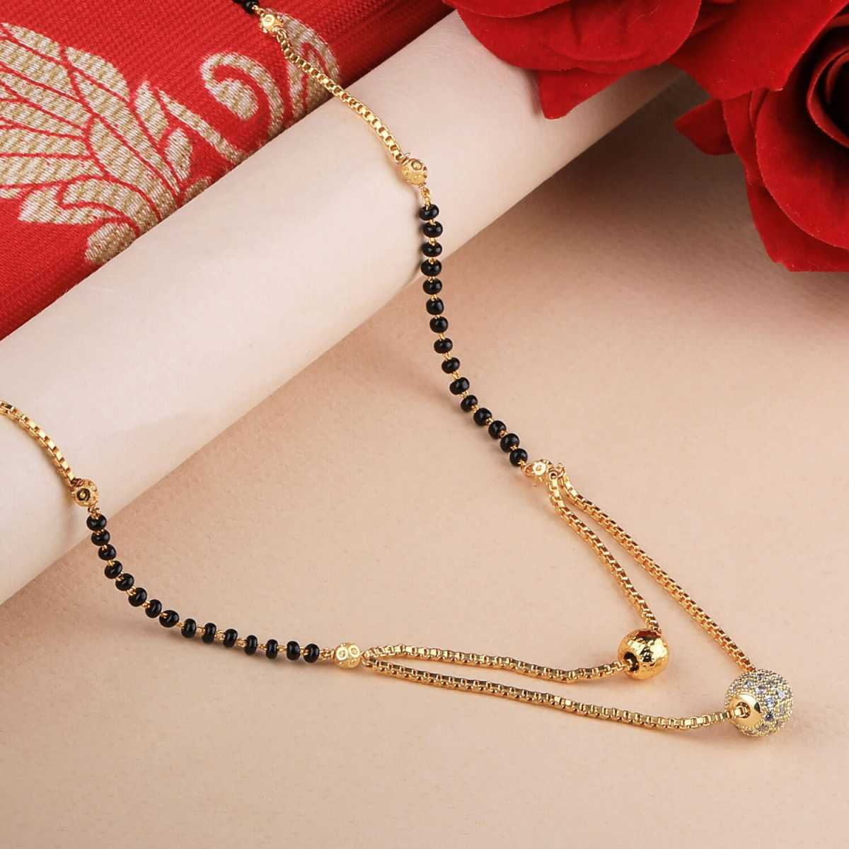 SILVER SHINE Daily Wear Gold Plated White Diamond Mangalsutra For Women