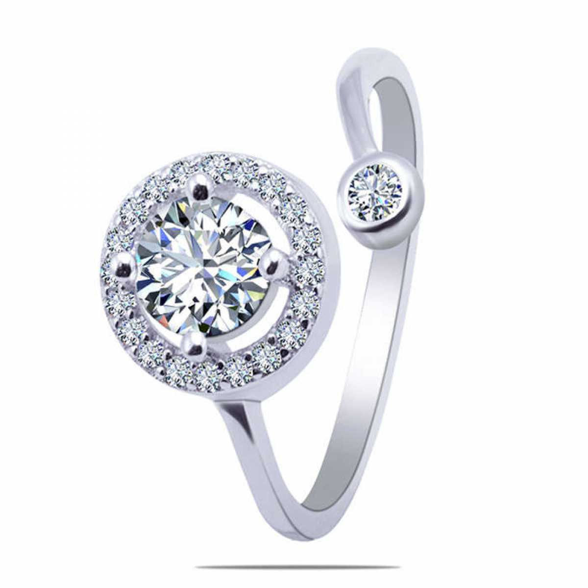 Diamond in Circle Silver Ring