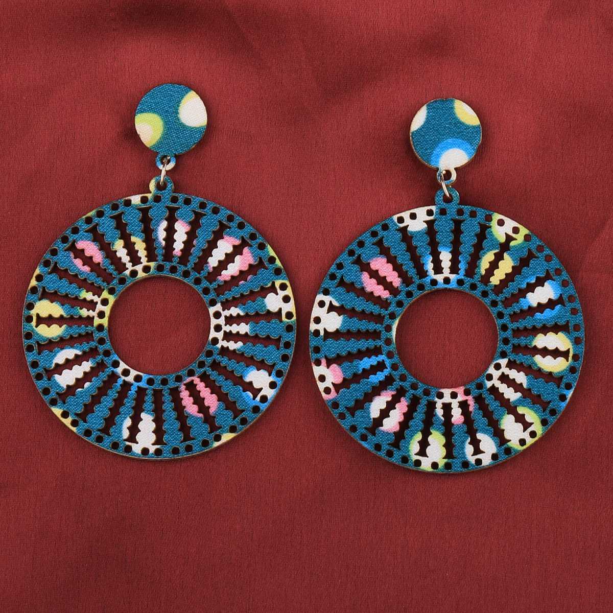 SILVER SHINE Delicate Natural Wooden Dangler Earrings for Girls and Women.