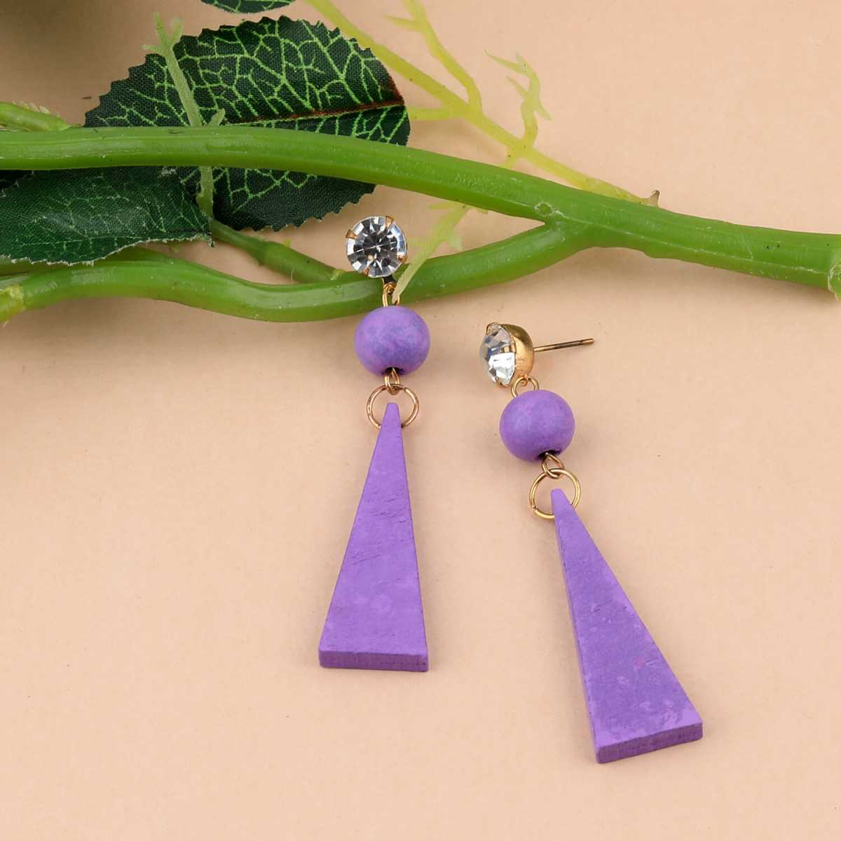 SILVER SHINE Designer Dangler Diamond Purple Wooden Light Weight Earrings for Girls and Women.