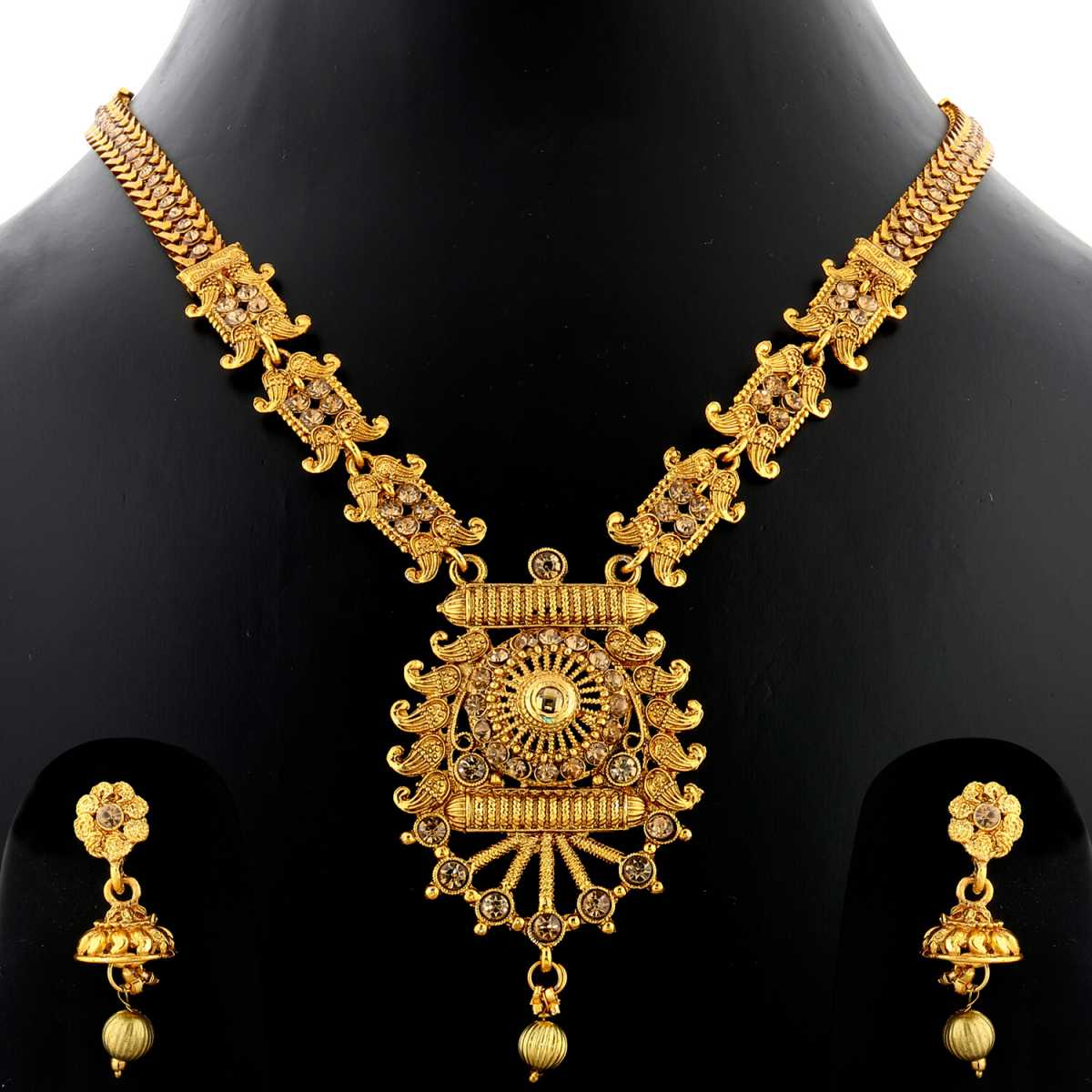 Silver Shine Exclusive Gold Plated Traditional Designer & Round Shape Long Necklace Set  Jewellery For Women And Girls