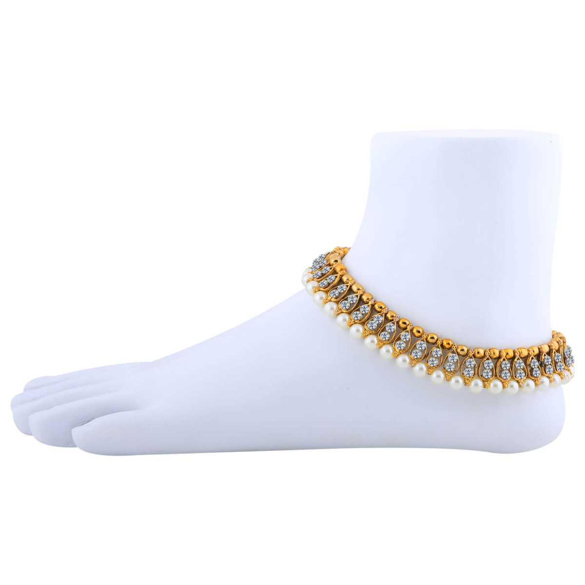 SILVER SHINE Antique Golden White Diamond And Pearl Anklet For Women And Girl.