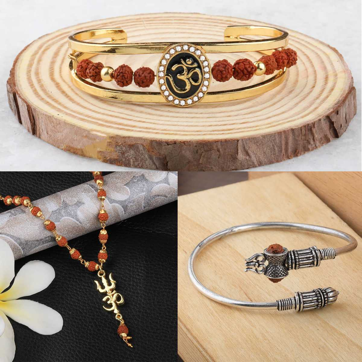 SILVER SHINE Gold Plated Traditional Combo Silver Kada And Pendant for Men and Women-set 3