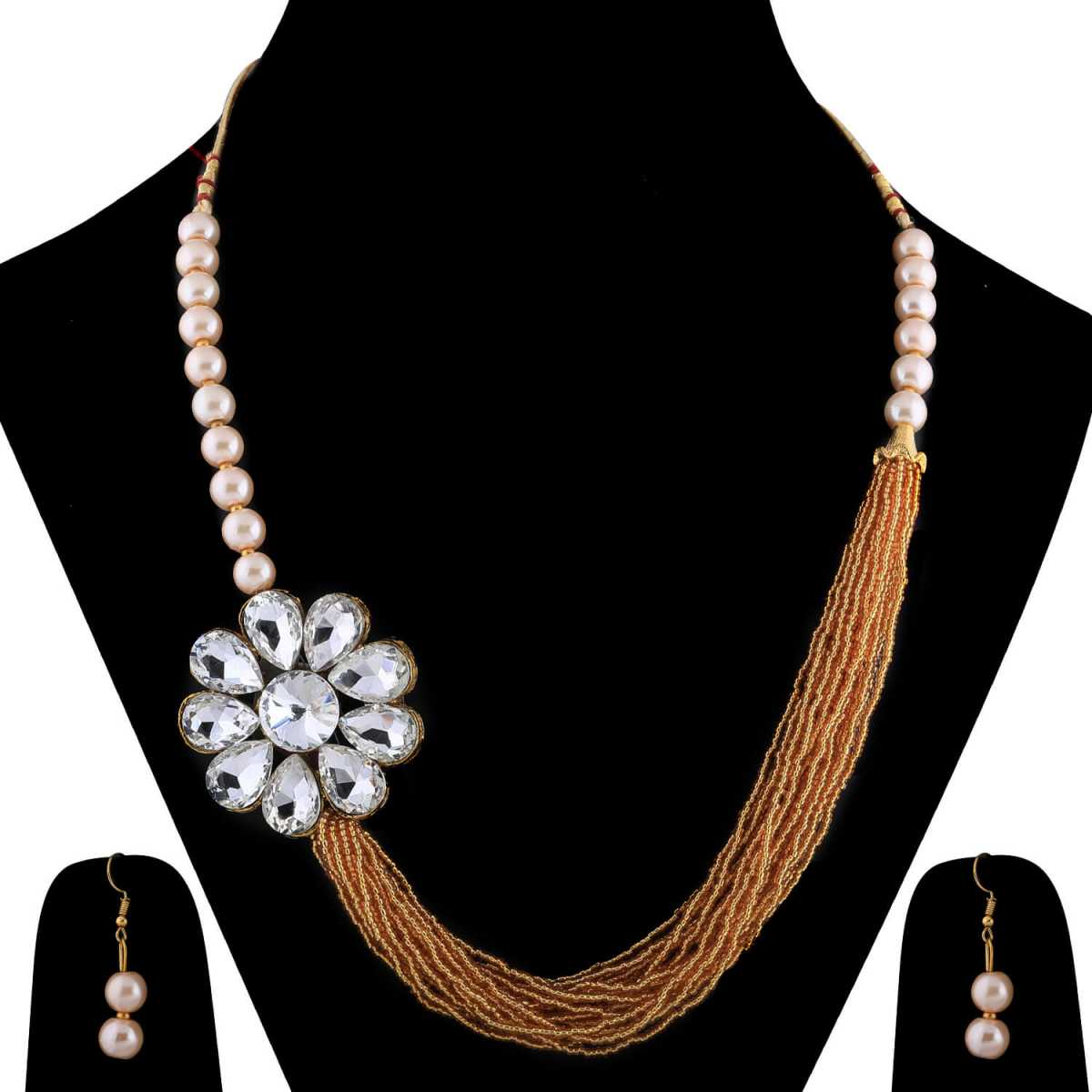 SILVERSHINE Gold Plated Traditional Multi Layer Golden Pearl Mala Set For Women And Girls