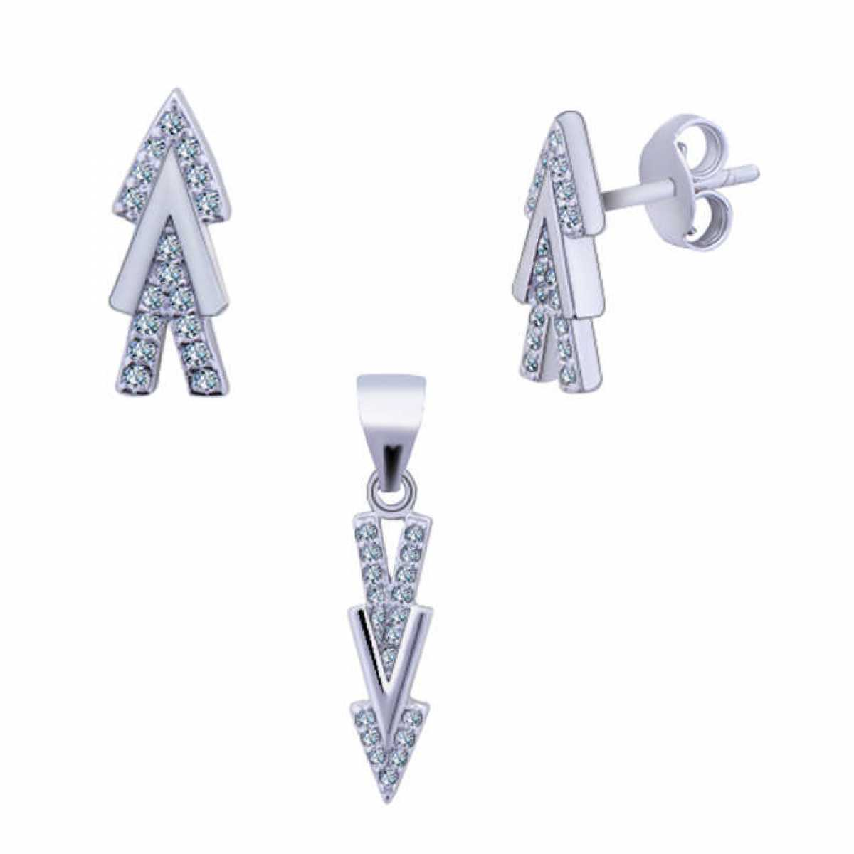 Three Triangle Arrow Silver Set
