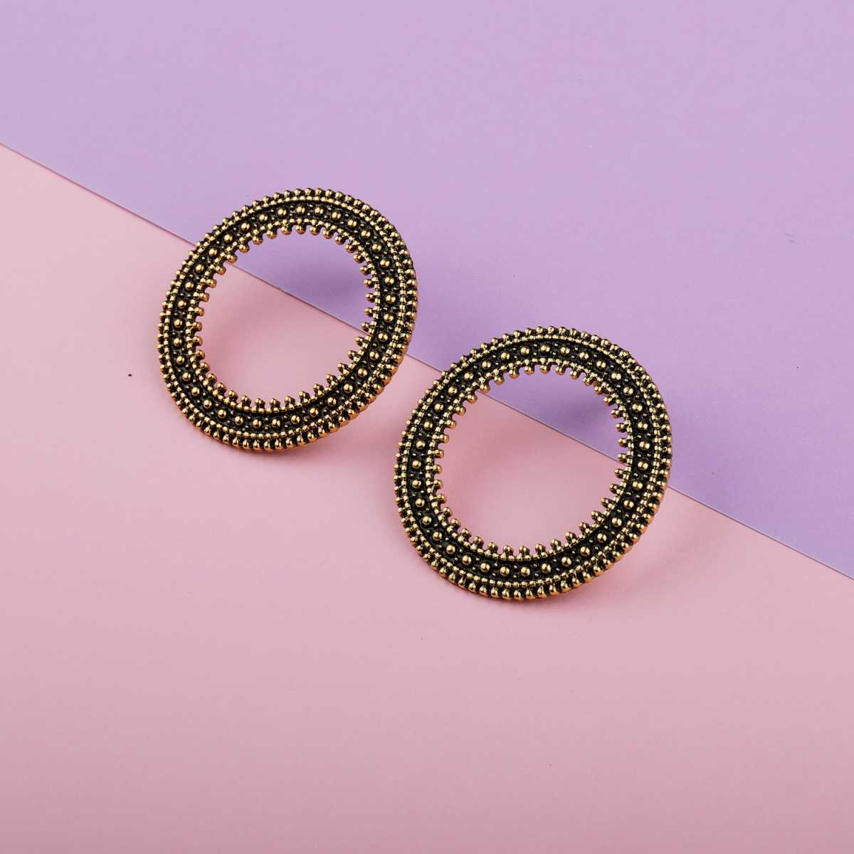 Silver Shine Pretty Gold Studs Earrings for Women