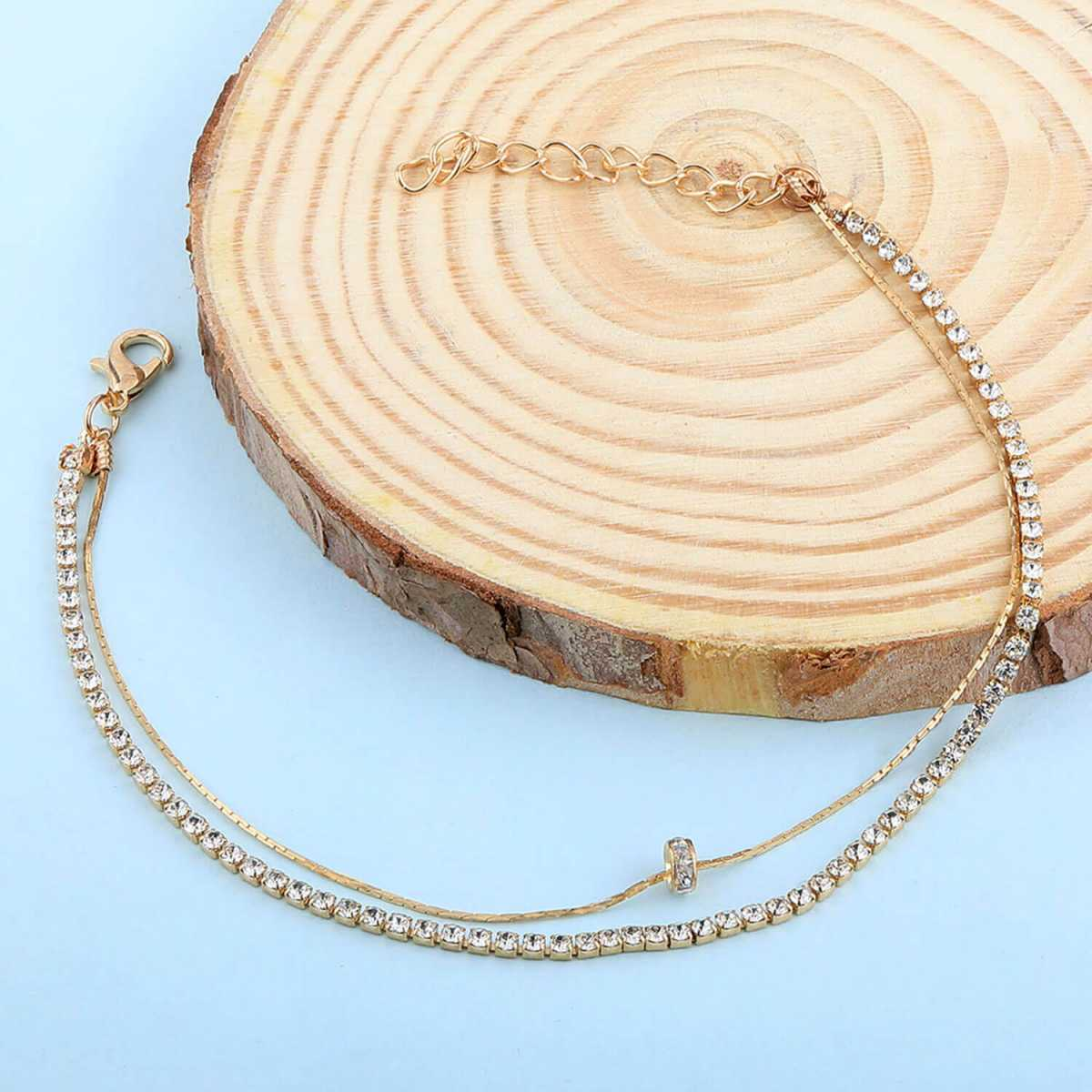SILVER SHINE Gold Plated Diamond layer Charm Anklet For Girl Women