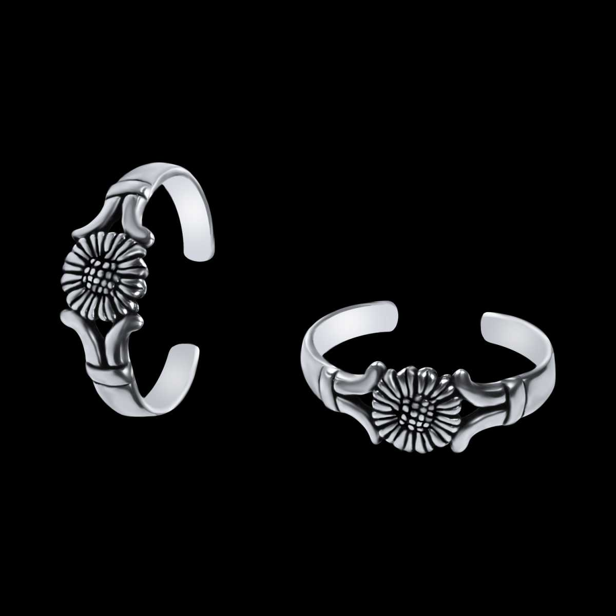 Stylish Sunflower Oxidised  Toe Rings