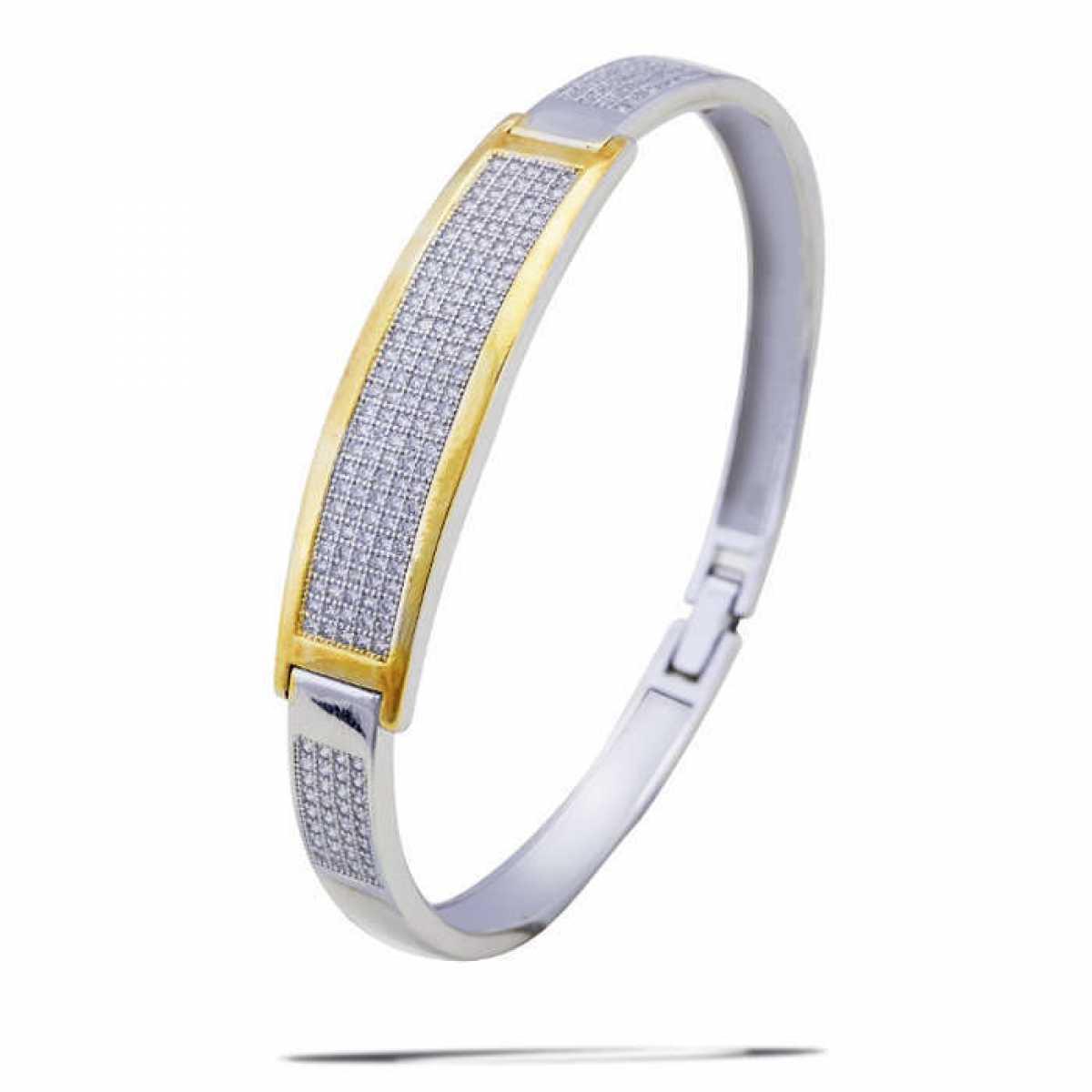 Gold Line Diamond Hard Bracelet