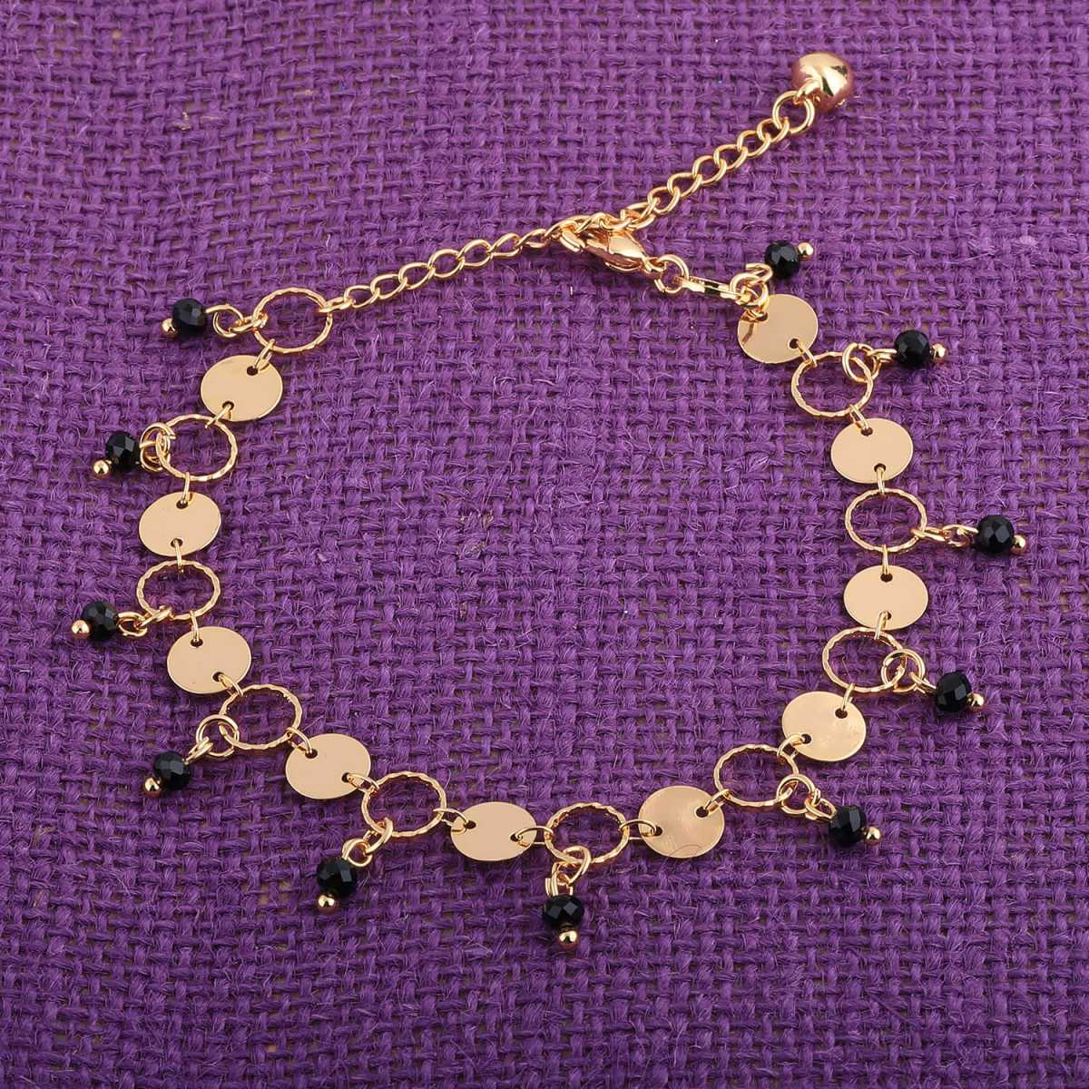SILVER SHINE Gold Plated Adjustable  Charm Anklet For Girl Women