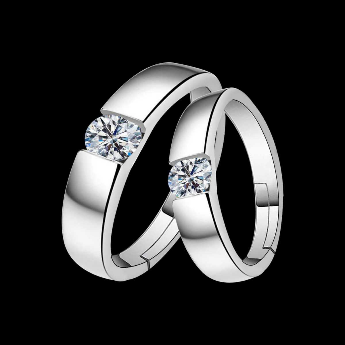 silverplated Same Solitaire His and Her Adjustable proposal Diamond couple ring For Men And Women Jewellery