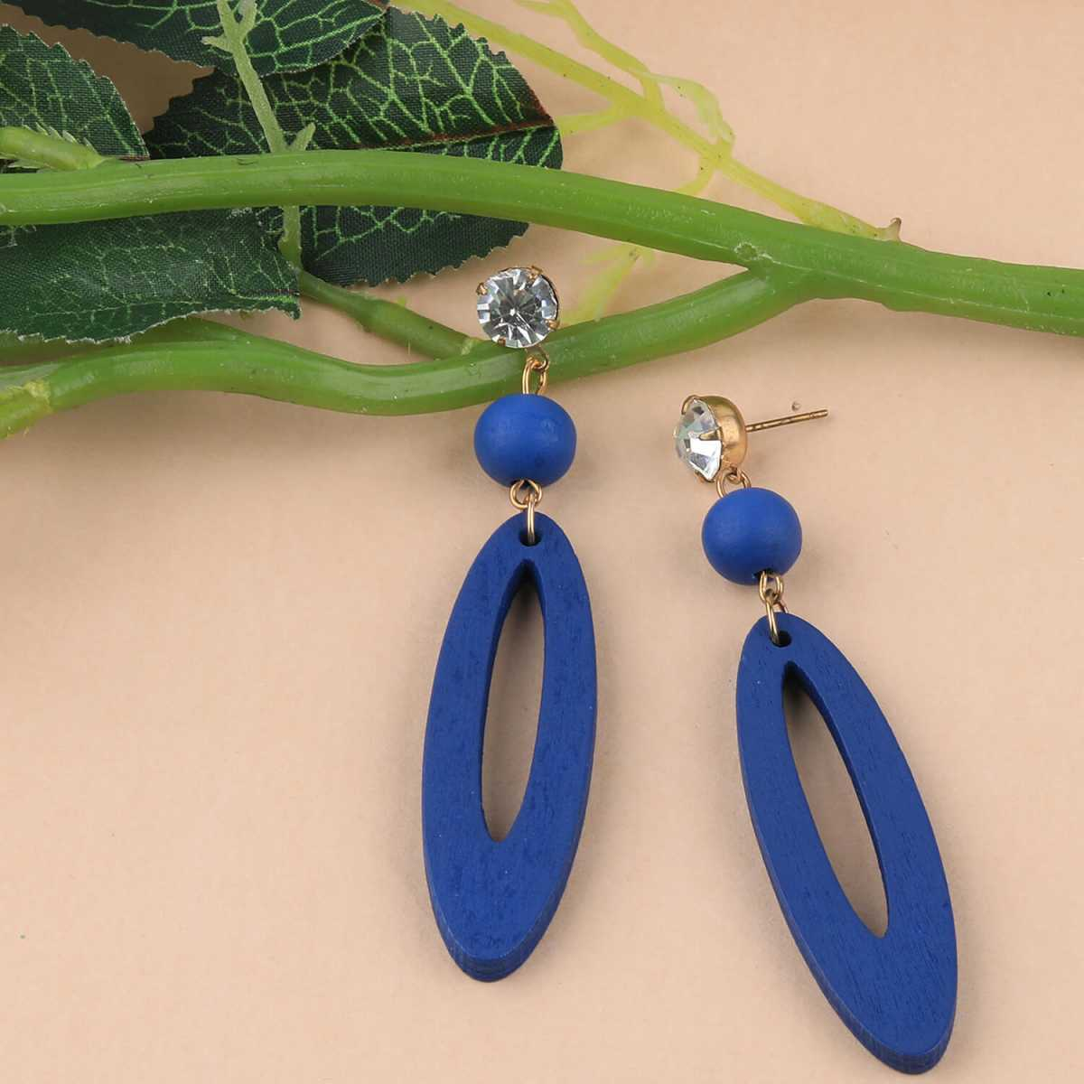 SILVER SHINE fashion Earring Antique Blue Wooden Dangler Earrings Perfect and Different Look for women girl.