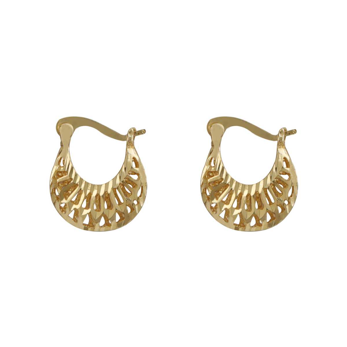 Silver Shine Graceful Gold Pretty Polished Small Hollow Design Hoop Bali Earring