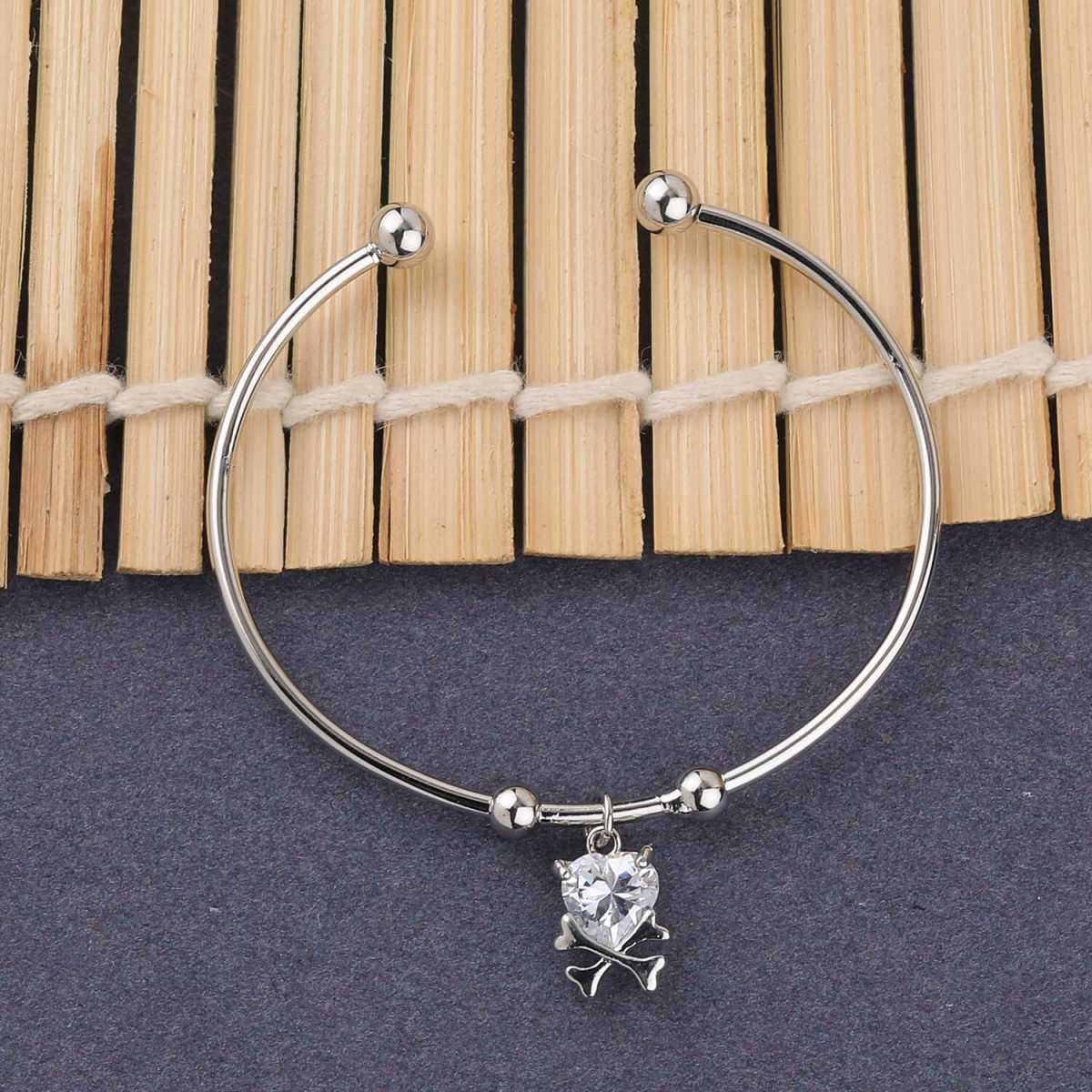 SILVER SHINE Antique Designer Adjustable Bracelet With Diamond For Women Girls