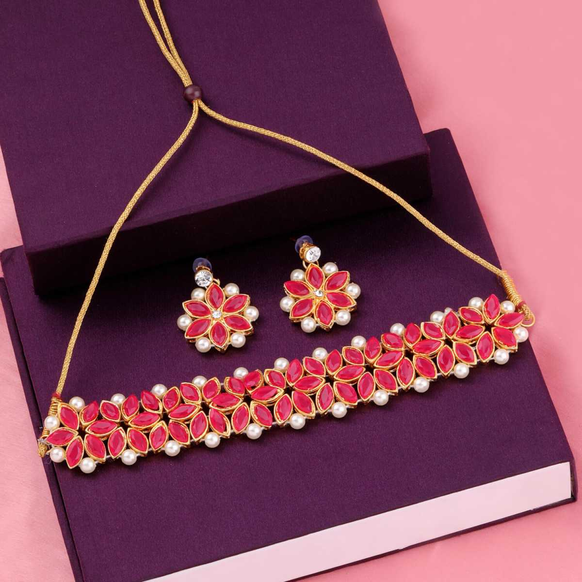 SILVER SHINE Gold Plated Exclusive Dark Red Stone Choker Set For Girls And Women