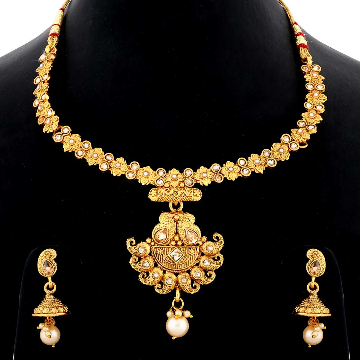 Silver Shine Unique Gold Plated Traditional Diamond Studded Royal Design Pearl Drop Designer  Wedding Necklace jewellery set for Girls And Women